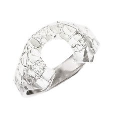 925 Sterling Silver Nugget Horseshoe Ring