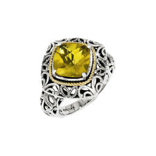 14k Yellow Gold 925 Silver Whiskey Quartz Square Cut Rope Accented Ring