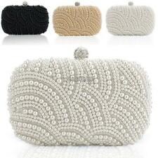 Women Clutch Bag Pearl Beaded Party Bridal Handbag Wedding Evening Purse WST 01