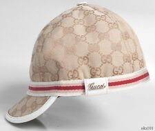 new women's girls GUCCI beige/white GG LOGO hat cap GORGEOUS - 100% authentic M