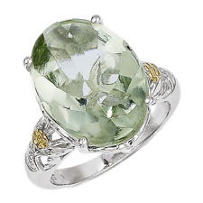 14k Yellow Gold 925 Silver Green Quartz Oval Cut Flower Accents Ring