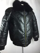 MENS V BOMBER LAMBSKIN LEATHER JACKET WITH FOX FUR COLLAR