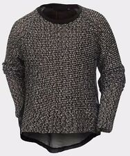 GIRLS EX CHAINSTORE KNITTED TOP WITH DIP HEM SHEER CHIFFON BACK