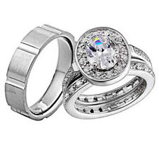 His and Hers Wedding Rings 3 pcs Engagement CZ Sterling Silver Titanium Set CB