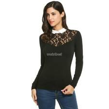 Women Peter Pan Collar Floral Lace Long Sleeve Slim Fit Blouse Tops WST 01