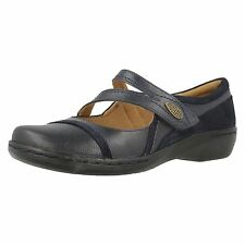 Clarks 'Evianna Crown' Ladies Navy Leather Touch fastener Casual Shoes. D Fit