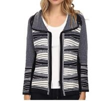NWT $198 NIC + ZOE Nordstrom Abstract Knit Zip Front Sweater, Size S