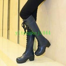 Womens Military Lace Up Knee High Boots Mid Heel Roman Riding Boots Punk Shoes T