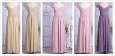 Women V Neck Long Maxi Chiffon Formal Evening Bridesmaid Party Prom Gown Dress