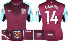 17 / 18 - ADIDAS ; WEST HAM HOME SHIRT SS + PATCHES / OBIANG 14 = KIDS