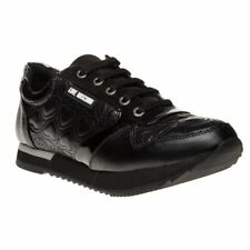 New Womens Love Moschino Black Runner Synthetic Trainers Running Style Lace Up