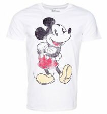 Official Men's White Distressed Vintage Mickey Mouse Disney T-Shirt