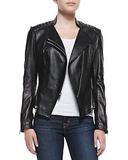 Women's Leather Motorcycle Jacket Genuine lambskin women black biker coat # 230