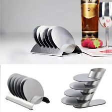 Coasters - Stainless Steel Holder with Coaster Set - Bar Drink Cup Holders