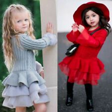 Kids Baby Girls Knitted Sweater Winter Pullovers Tops Crochet Tutu Mini Dress