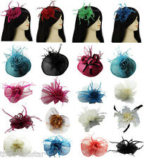 Women Wedding Prom Party Ladies New Mesh Hair Flower Feather Fascinator Comb