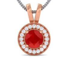 Red Ruby IJ SI Diamond Round Halo Gemstone Pendant Women 10K Solid Gold