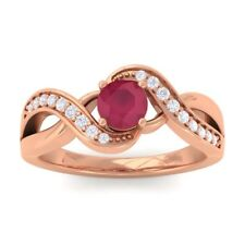 Red Ruby IJ SI Diamonds Gem Engagement Ring Women 10K Solid Gold
