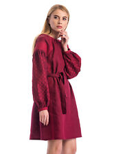 100% Linen Ukrainian Ethnic Embroidered Dress Vyshyvanka Cherry Embroidery