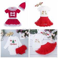 Newborn Baby Girl Christmas Tree Romper Tutu Dress Tops Party Outfits Costume