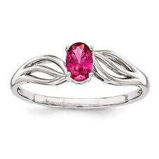 Sterling Silver Rhodium Plated Crtd Ruby July Birthstone Promise Ring Sz 5 - 10