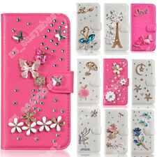Flip Bling Wallet Stand Case Crystal Luxury Leather Cover For iPhone