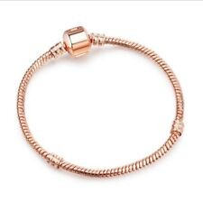 Fashion Rose Gold Plated Snake Chain Bracelet Fit European Charms Beads