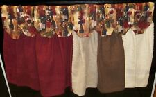 Hanging Kitchen Towels -  Plain Towels with Wine Scene Tops