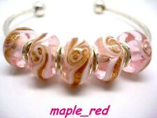 Fashion Pink Spiral European Style Lampwork Glass Beads fit Charm Bracelet