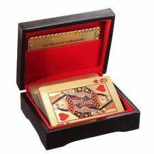 24k 99.9% Genuine Gold Plated Gilded Poker Playing Cards Deck With Wooden Box