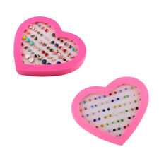 36 Pairs Bling Assorted Stud Earrings Bulk for Women Girl with A Pink Heart Box