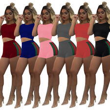 Women Short Sleeve Crop Top Short Pants Body con Jumpsuit Casual 2 pcs Set