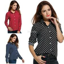 Women's Long Sleeve Polka Dot Casual Loose Button Down Shirt E456 01