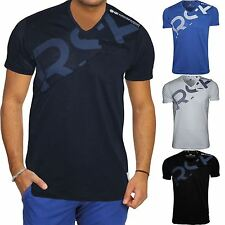 New Mens Crosshatch T-Shirt V Neck Graphic Short Sleeved Casual Cotton Tee Top