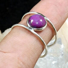 7MM Round Faceted Purple Turquoise Solid 925 Sterling Silver Ring-SIZE 3-12.5 VV
