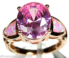 14K Rose Gold Over Pink Topaz Pink Fire Opal Inlay 925 Sterling Silver Ring 6-9