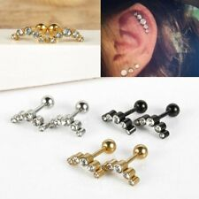 "16G Leaf Steel Barbell Ear Helix Cartilage Studs 1/4"" Bars Earring Piercing Gift"
