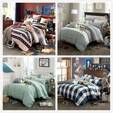 Striped Quilt Duvet Doona Cover Set 100% Cotton Single/Queen/King Bed Size New