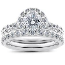14K White Gold 1 1/2 ct TDW Halo Diamond Engagement Ring Wedding Band Set
