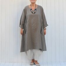 Womens Lagenlook Quirky Heavy Linen Tunic Top Dress 16-26 Made In Italy New 9405