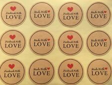 Round Paper Labels 'Hand made with love' Gift Food Kraft Craft Stickers MDR
