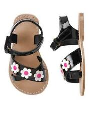 GYMBOREE DAISY PARK BLACK PATENT LEATHER PINK FLOWER SANDALS 9 10 NWT