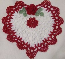 red rose and white heart crocheted doily by Aeshagirl