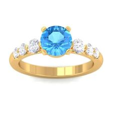 Blue Topaz GH SI Natural Gemstone Diamonds Engagement Ring Yellow Gold