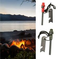 Magnesium Flint Stone Fire Starter Lighter Rod Camping Survival w/ Whistle G4J9