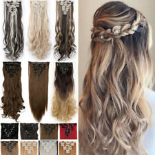 US Lady Thick Clip in Hair Extensions 8 Pieces Full Head Long As Human Hair F56