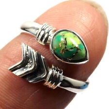 GORGEOUS GREEN COPPER TURQUOISE 925 STERLING SILVER ARROW RING SIZE 3 - 13.5