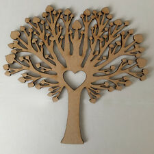 MDF Family Tree Kit, Set Free Hearts,Scroll & Family Word Wood Craft Shape Blank