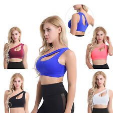 Sexy Womens One Shoulder Sports Bra Fitness Workout Yoga Top Athletic Underwear