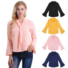 Fashion Women Bow Tie V Neck Long Flare Sleeve Chiffon T-Shirt Loose Top Blouse